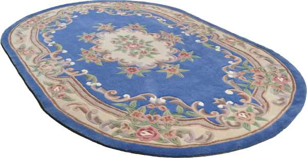 Ming 501 Aubusson in blau oval Theko Classic